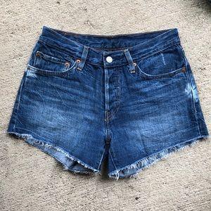 Levi's Denim 501 Jeans Shorts 26 Frayed Raw